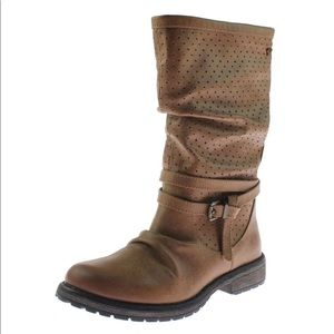 Roxy Eve Logger Boots Faux Leather Slouchy 5 Tan